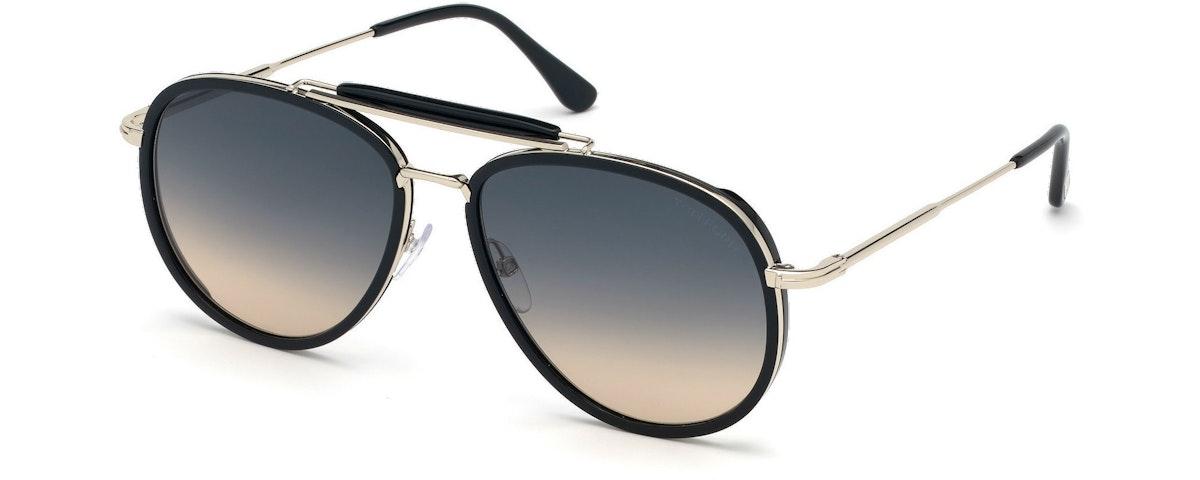 01B - Shiny Black Acetate Rims, Shiny Rhodium/ Grad. Grey-To-Orange Lenses