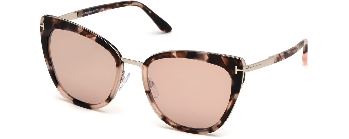 55G - Shiny Vintage Pink Havana, Palladium/ Champagne W. Silver Flash Lenses