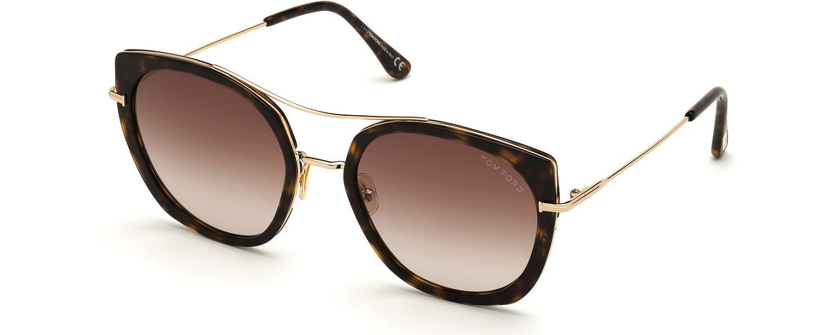 52F - Shiny Classic Dk. Havana W. Shiny Rose Gold/ Gradient Brown Lenses