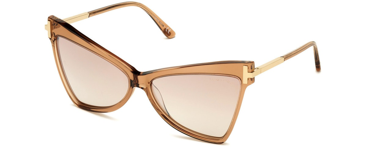 57G - Rose Champagne W. Rose Gold Temples/ Grad. Brown Silver Flash Lenses