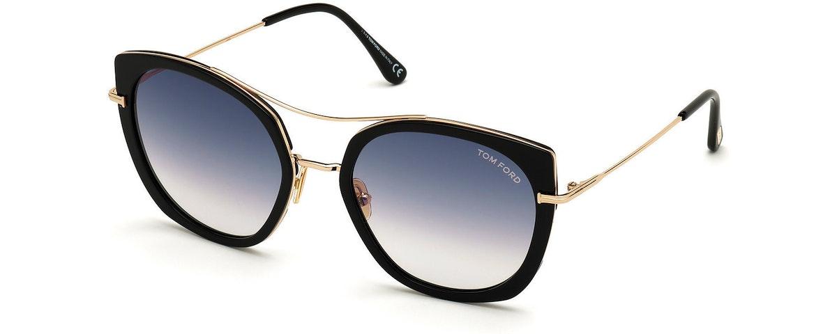 01B - Shiny Black Acetate W. Shiny Rose Gold/ Gradient Smoke Lenses